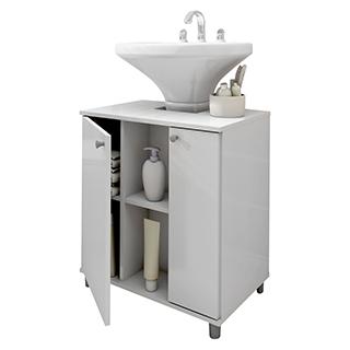 armario gabinete banheiro branco Politorno