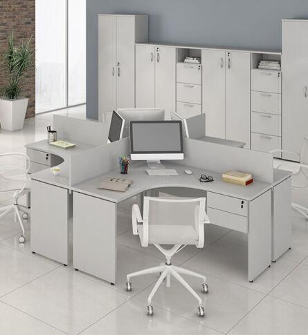 estação de trabalho em u disponível em várias cores e nichos