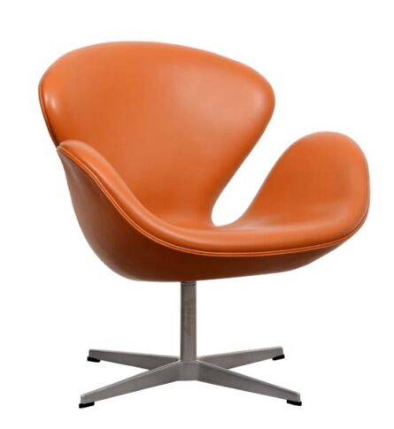 poltrona-swan-couro-laranja-