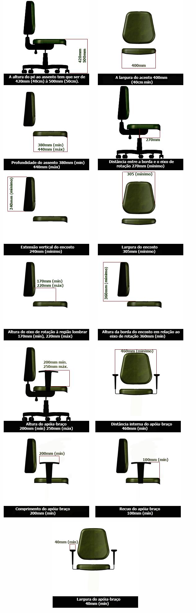 norma abnt para cadeiras de escriótio altura assento braço e encosto