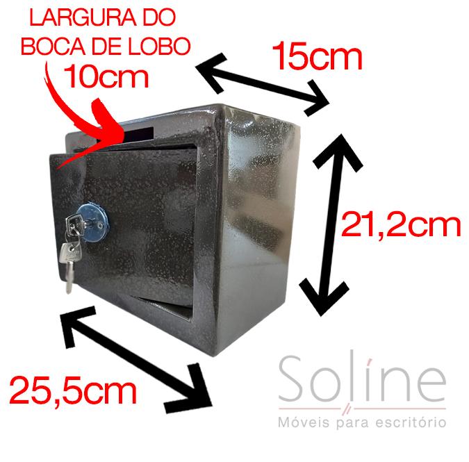Cofre mecânico Mini Box Com Rasgo, Cofre mecânico Mini Box com Boca de Lobo